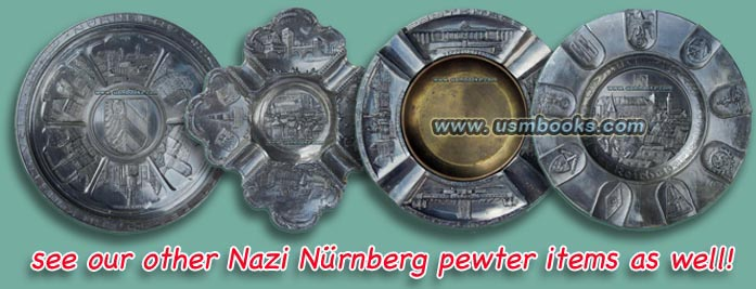Third Reich pewter plates, ashtray from Nuremberg